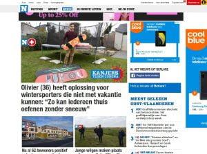 Artikel over snowboard in Het Nieuwsblad