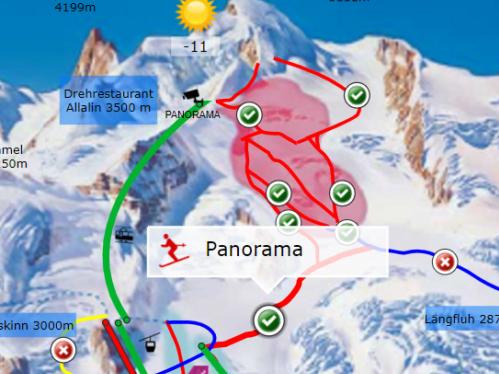Afbeelding van Saas Fee pistemap voor ski en snowboard