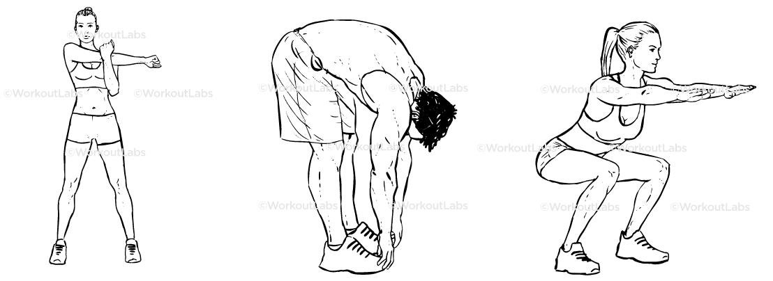 afbeelding met basis stretchoefeningen voor freestyle snowboard grabs
